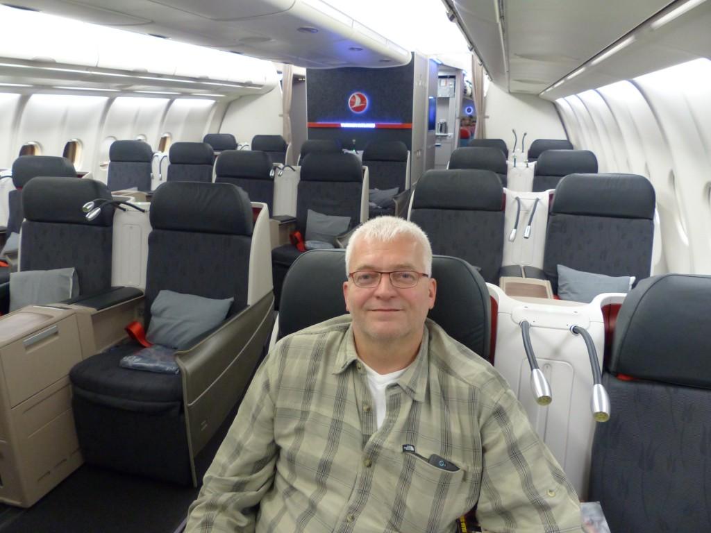 Fast leere Businessclass beim Flug nach Kathmandu.